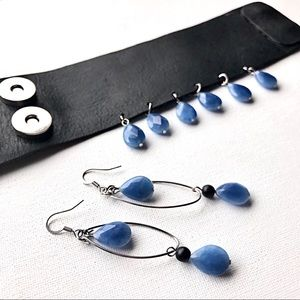 Diana the Wild Jewelry - Blue Agate & Leather Earring/Cuff Set